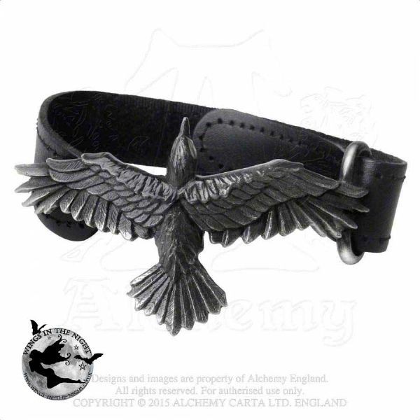 Alchemy Gothic Black Consort Raven Leather Wristband